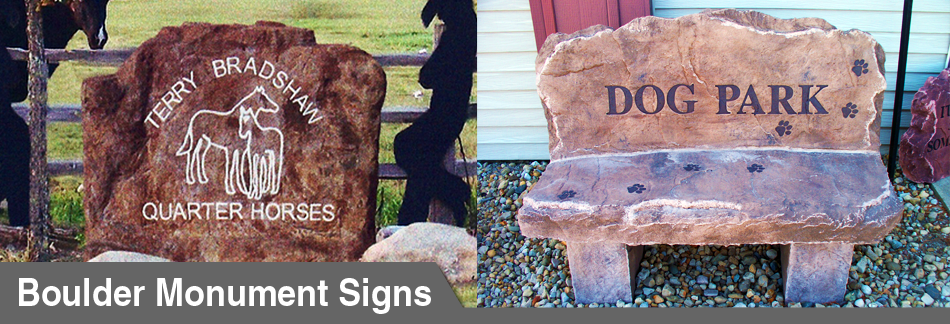 Boulder Monuments - Personalized Concrete Signs by Signarama