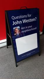 Metal frame sandwich board with dry erase inserts and clear cover sheets
