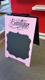Plywood sandwich board with digital print, edges painted black and chalkboard vinyl