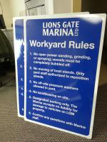 Workyard rules sign