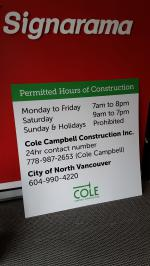 Construction hours sign