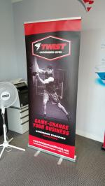 Rollup banner for a local gym