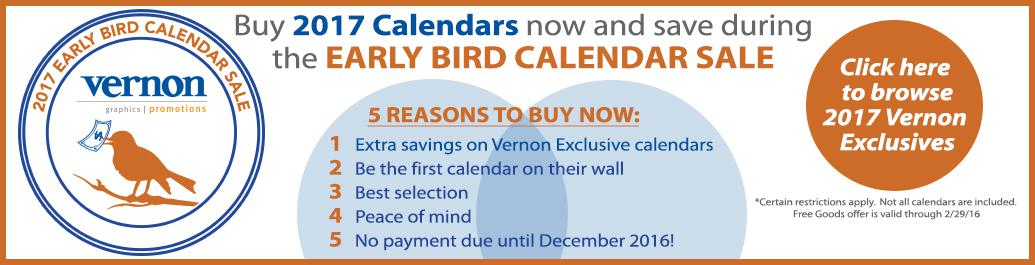 Early Bird Calendar Sale 2017