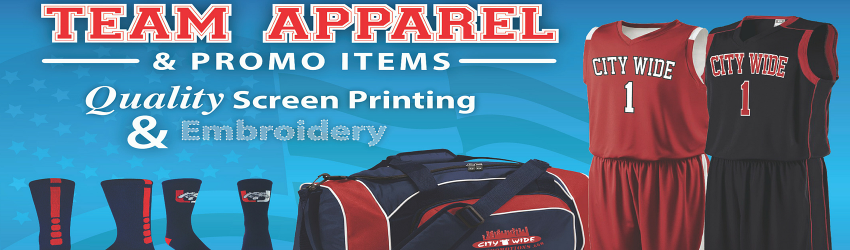 Team sports screen printed and embroidered apparel