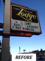 Buffalo Bill Cody Motor Lodge - Illuminated Cabinet & Marquee Sign -  before.png