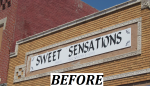 Sweet Sensations -Outdoor Painted Panel Sign - before.png