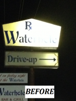 Waterhole Bar and Grill - Outdoor Illuminated Cabinet Sign - BEFORE.png